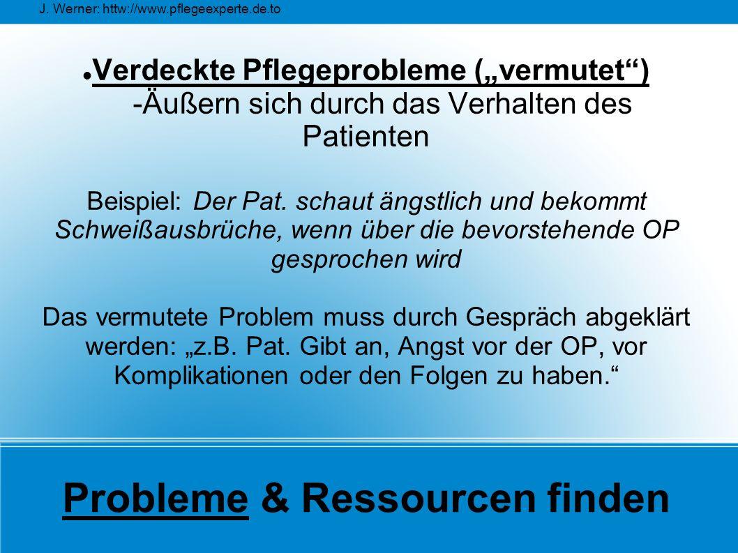 """J. Werner: httw://www.pflegeexperte.de.to Probleme & Ressourcen finden Verdeckte Pflegeprobleme (""""vermutet"""") -Äußern sich durch das Verhalten des Pati"""