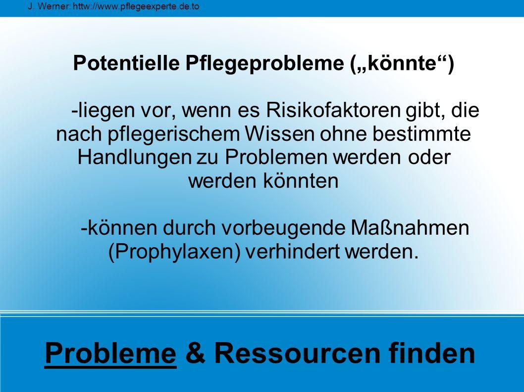 """J. Werner: httw://www.pflegeexperte.de.to Probleme & Ressourcen finden Potentielle Pflegeprobleme (""""könnte"""") -liegen vor, wenn es Risikofaktoren gibt,"""