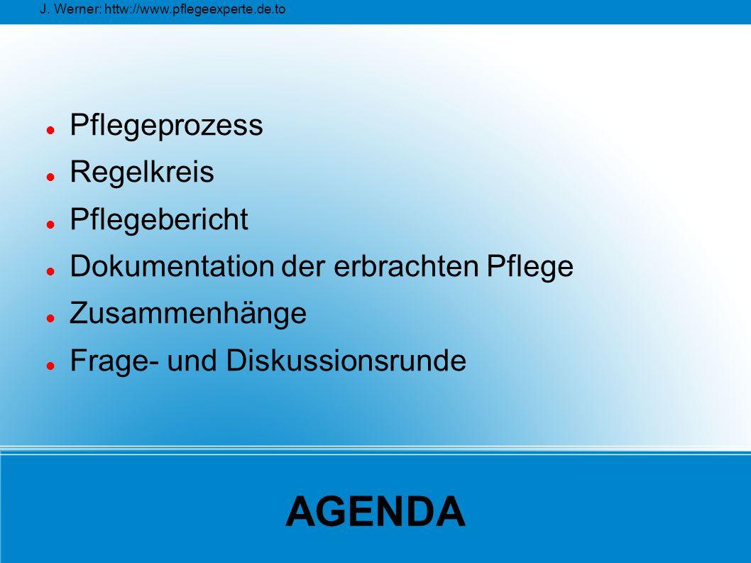 J. Werner: httw://www.pflegeexperte.de.to AGENDA Pflegeprozess Regelkreis Pflegebericht Dokumentation der erbrachten Pflege Zusammenhänge Frage- und D