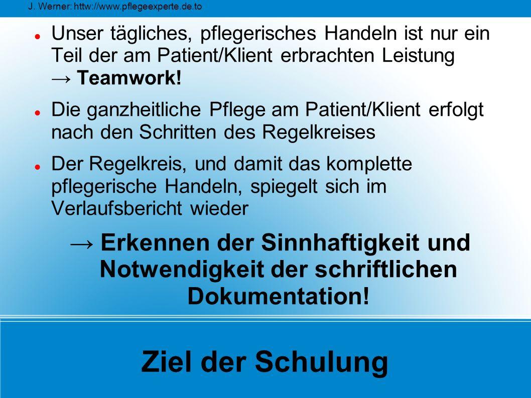 J. Werner: httw://www.pflegeexperte.de.to Ziel der Schulung Unser tägliches, pflegerisches Handeln ist nur ein Teil der am Patient/Klient erbrachten L