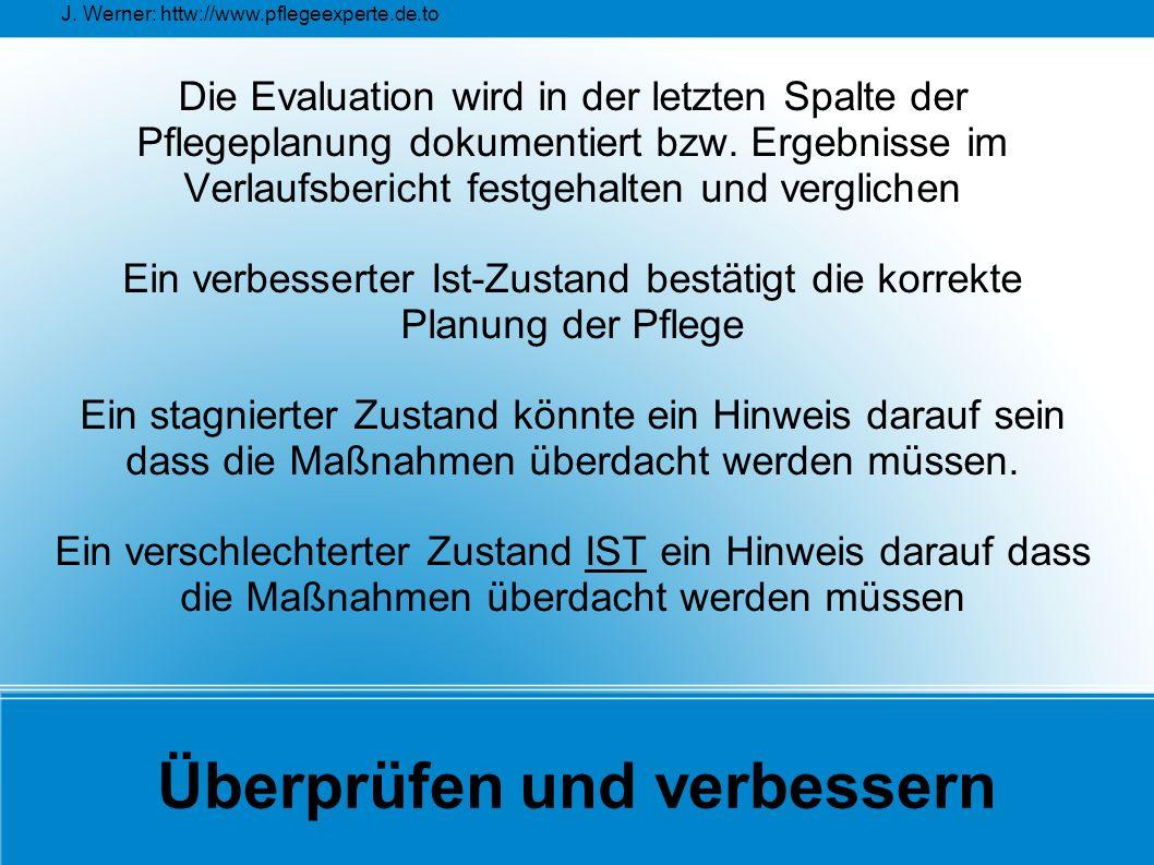 J. Werner: httw://www.pflegeexperte.de.to Überprüfen und verbessern Die Evaluation wird in der letzten Spalte der Pflegeplanung dokumentiert bzw. Erge