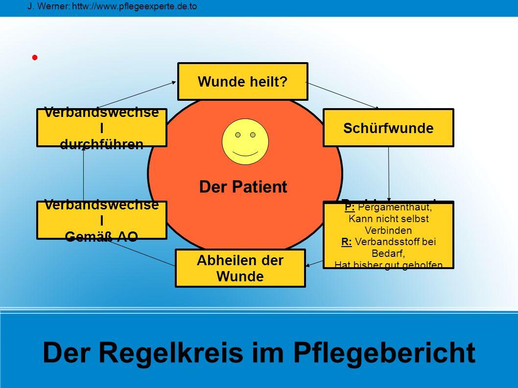 J. Werner: httw://www.pflegeexperte.de.to Der Regelkreis im Pflegebericht Wunde heilt? Verbandswechse l Gemäß AO Verbandswechse l durchführen Probleme