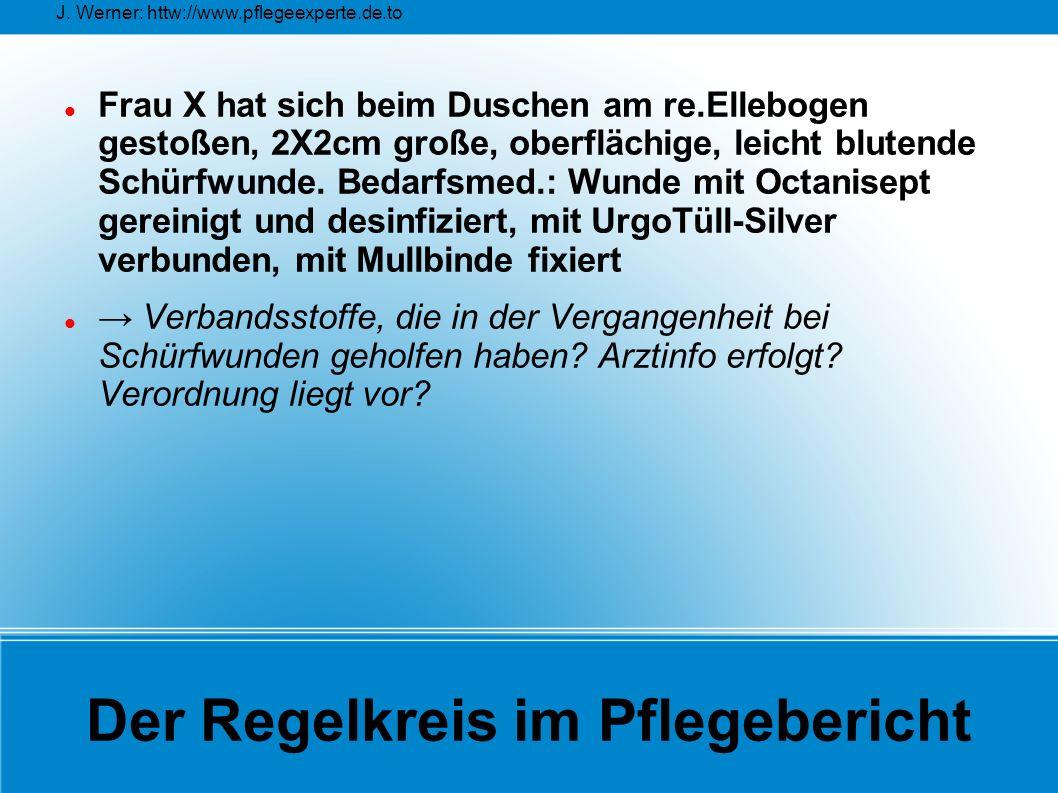J. Werner: httw://www.pflegeexperte.de.to Der Regelkreis im Pflegebericht Frau X hat sich beim Duschen am re.Ellebogen gestoßen, 2X2cm große, oberfläc