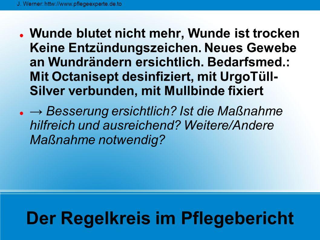 J. Werner: httw://www.pflegeexperte.de.to Der Regelkreis im Pflegebericht Wunde blutet nicht mehr, Wunde ist trocken Keine Entzündungszeichen. Neues G
