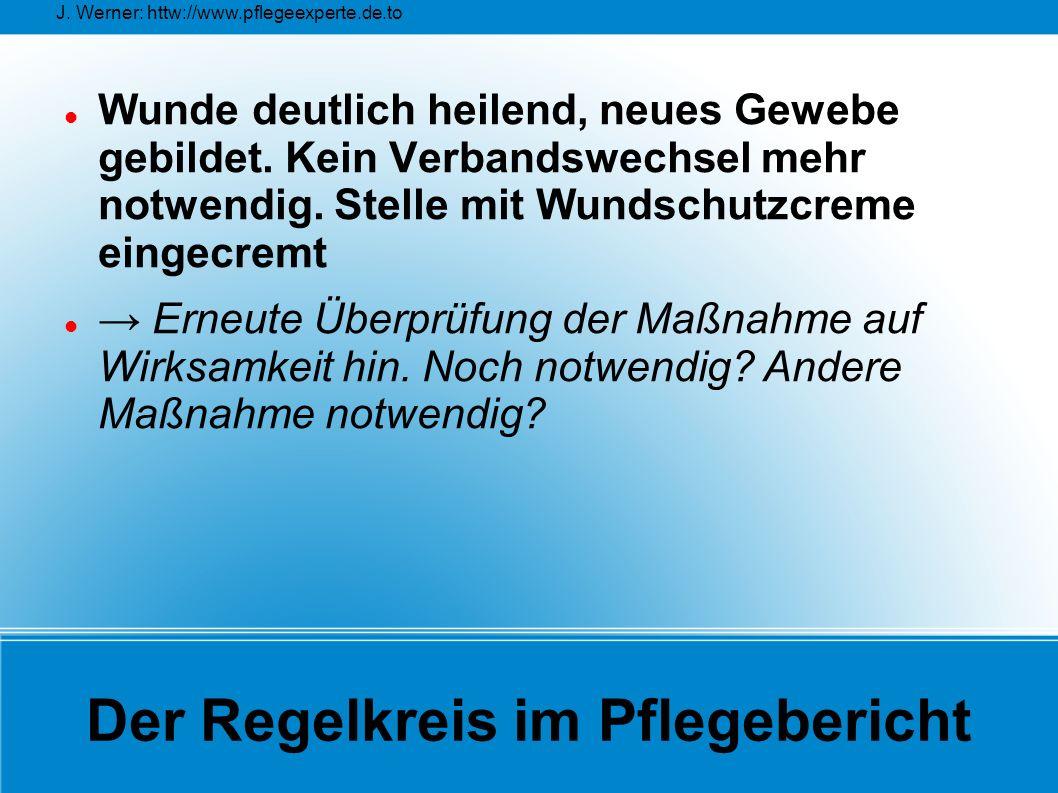 J. Werner: httw://www.pflegeexperte.de.to Der Regelkreis im Pflegebericht Wunde deutlich heilend, neues Gewebe gebildet. Kein Verbandswechsel mehr not