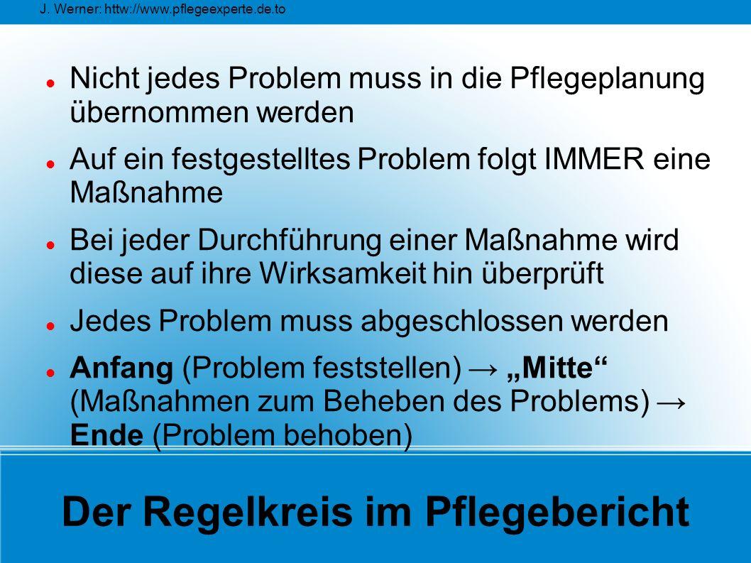 J. Werner: httw://www.pflegeexperte.de.to Der Regelkreis im Pflegebericht Nicht jedes Problem muss in die Pflegeplanung übernommen werden Auf ein fest