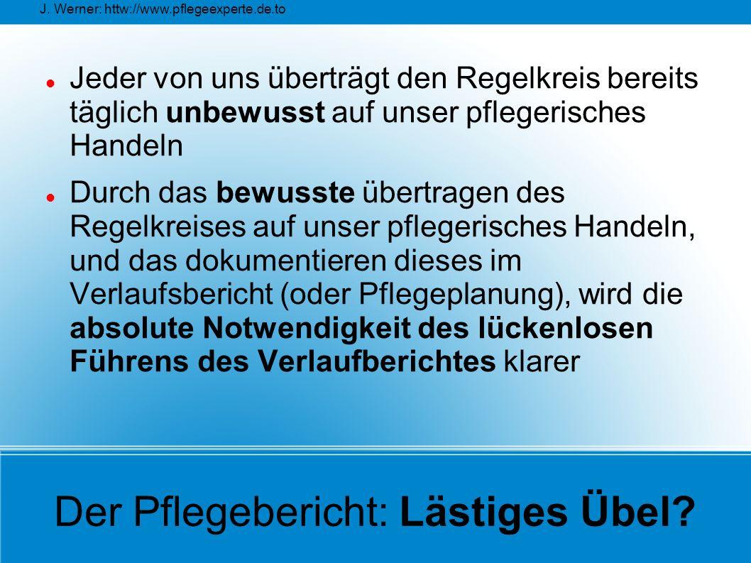 J. Werner: httw://www.pflegeexperte.de.to Der Pflegebericht: Lästiges Übel? Jeder von uns überträgt den Regelkreis bereits täglich unbewusst auf unser