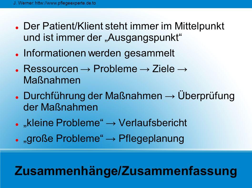 """J. Werner: httw://www.pflegeexperte.de.to Zusammenhänge/Zusammenfassung Der Patient/Klient steht immer im Mittelpunkt und ist immer der """"Ausgangspunkt"""