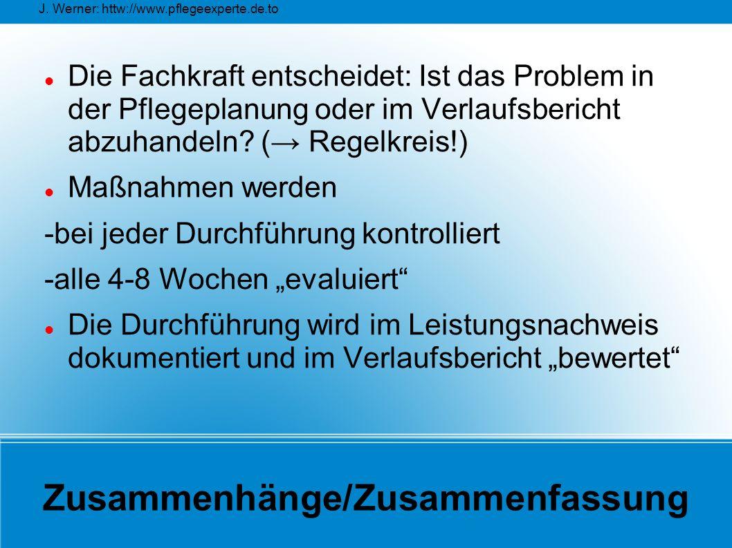 J. Werner: httw://www.pflegeexperte.de.to Zusammenhänge/Zusammenfassung Die Fachkraft entscheidet: Ist das Problem in der Pflegeplanung oder im Verlau