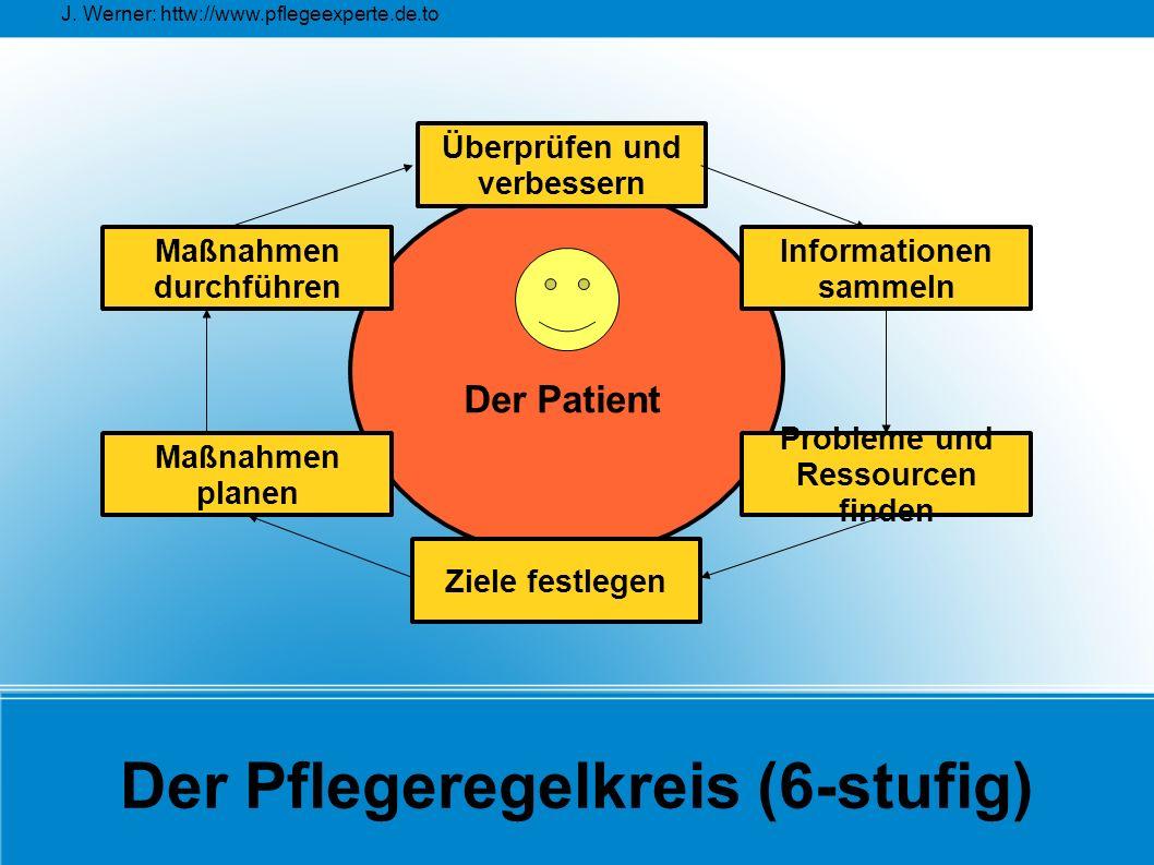 J. Werner: httw://www.pflegeexperte.de.to Der Pflegeregelkreis (6-stufig) Überprüfen und verbessern Maßnahmen planen Maßnahmen durchführen Probleme un