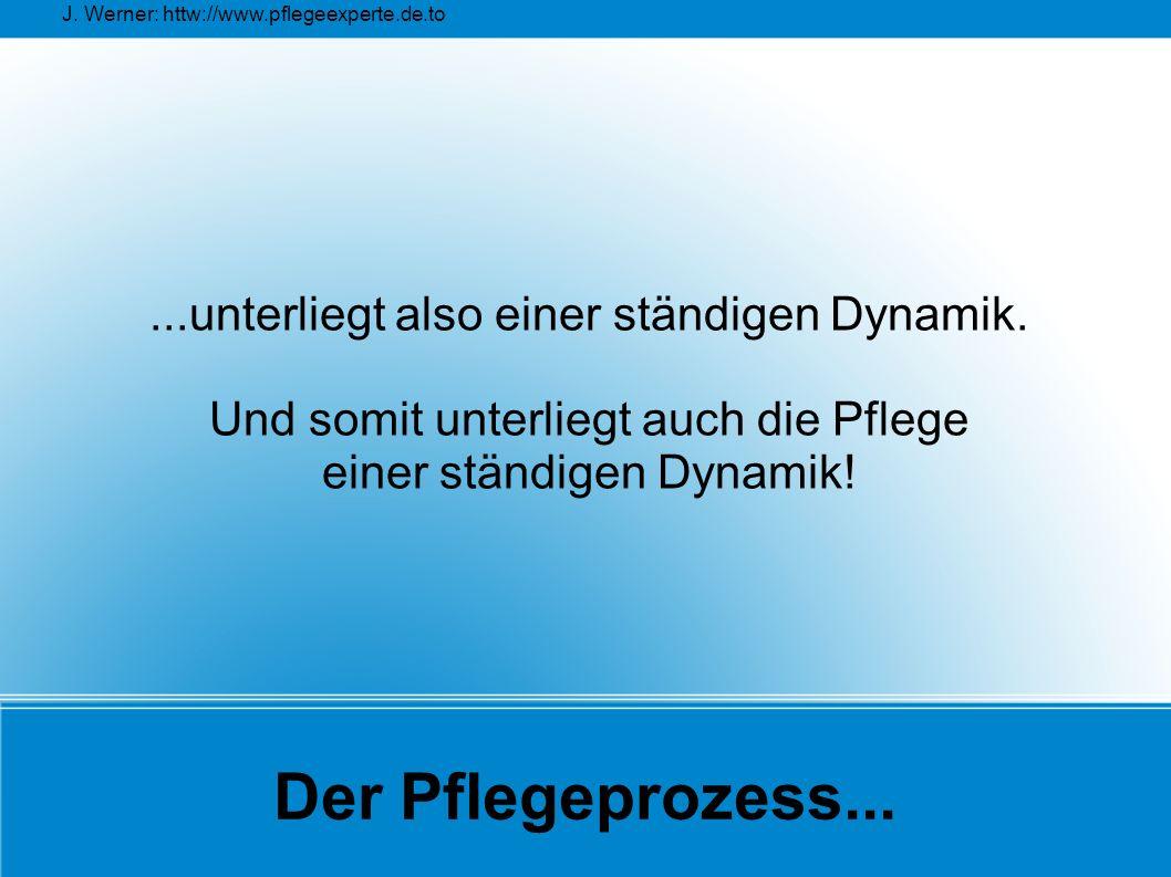 J. Werner: httw://www.pflegeexperte.de.to Der Pflegeprozess......unterliegt also einer ständigen Dynamik. Und somit unterliegt auch die Pflege einer s