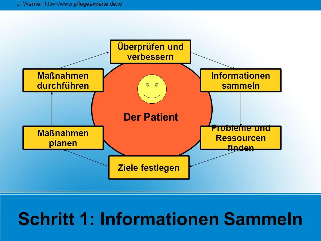 J. Werner: httw://www.pflegeexperte.de.to Schritt 1: Informationen Sammeln Überprüfen und verbessern Maßnahmen planen Maßnahmen durchführen Probleme u