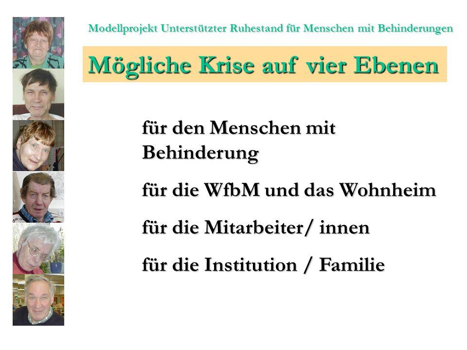 Modellprojekt Unterstützter Ruhestand für Menschen mit Behinderungen Mögliche Krise auf vier Ebenen für den Menschen mit Behinderung für die WfbM und das Wohnheim für die Mitarbeiter/ innen für die Institution / Familie
