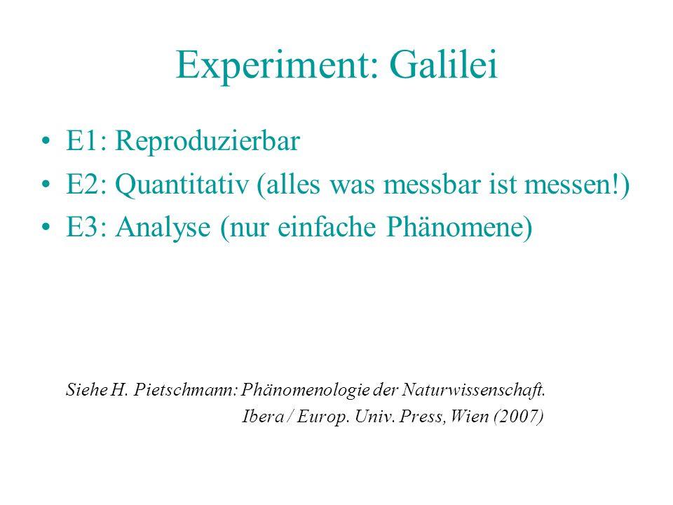 Experiment: Galilei E1: Reproduzierbar E2: Quantitativ (alles was messbar ist messen!) E3: Analyse (nur einfache Phänomene) Siehe H. Pietschmann: Phän