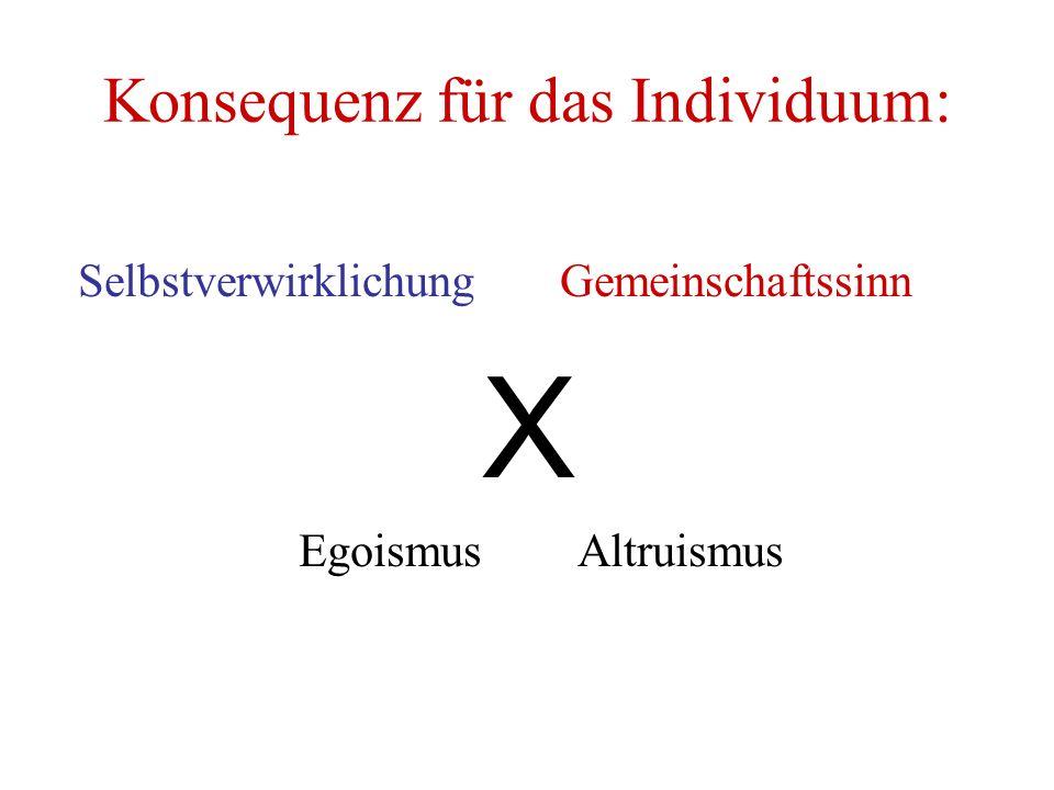 Konsequenz für das Individuum: Selbstverwirklichung Gemeinschaftssinn X Egoismus Altruismus