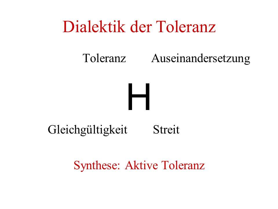 Dialektik der Toleranz Toleranz Auseinandersetzung H Gleichgültigkeit Streit Synthese: Aktive Toleranz
