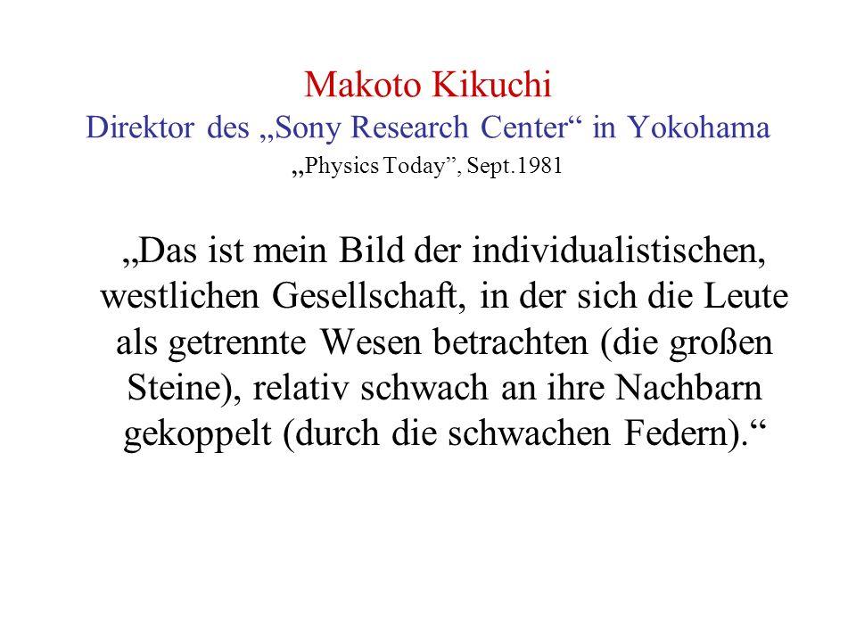 """Makoto Kikuchi Direktor des """"Sony Research Center in Yokohama """" Physics Today , Sept.1981 """"Das ist mein Bild der individualistischen, westlichen Gesellschaft, in der sich die Leute als getrennte Wesen betrachten (die großen Steine), relativ schwach an ihre Nachbarn gekoppelt (durch die schwachen Federn)."""