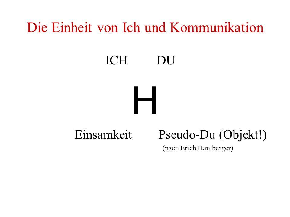 Die Einheit von Ich und Kommunikation ICH DU H Einsamkeit Pseudo-Du (Objekt!) (nach Erich Hamberger)