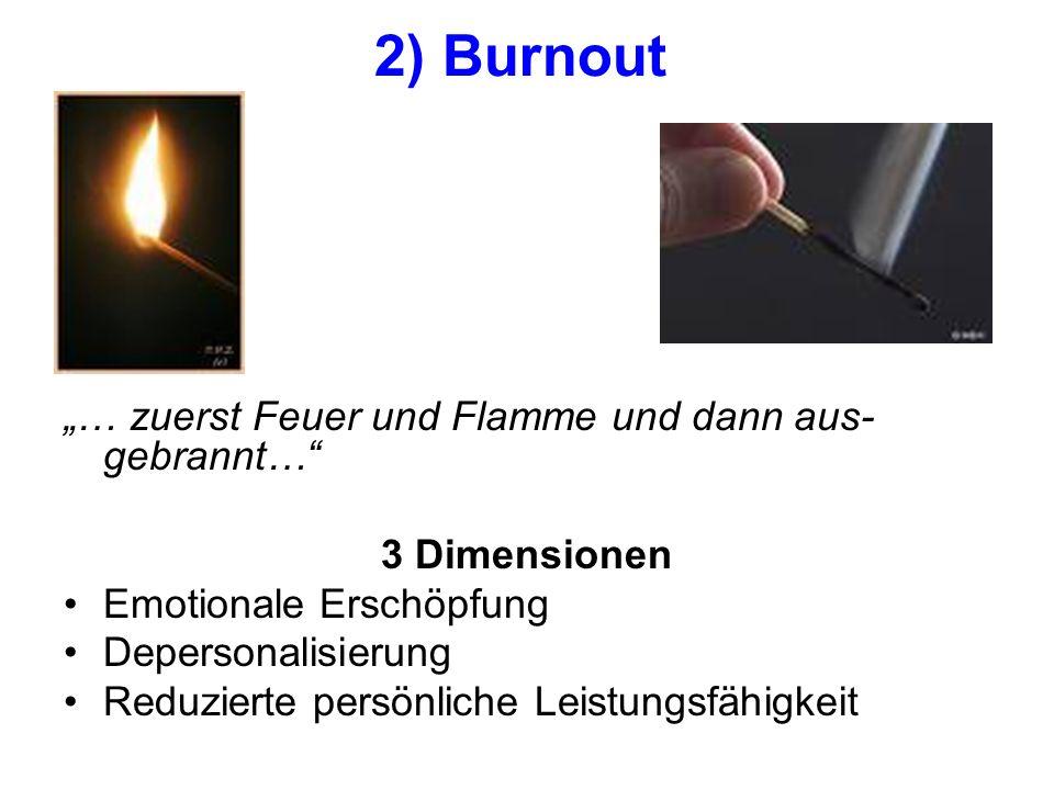 """""""… zuerst Feuer und Flamme und dann aus- gebrannt… 3 Dimensionen Emotionale Erschöpfung Depersonalisierung Reduzierte persönliche Leistungsfähigkeit 2) Burnout"""