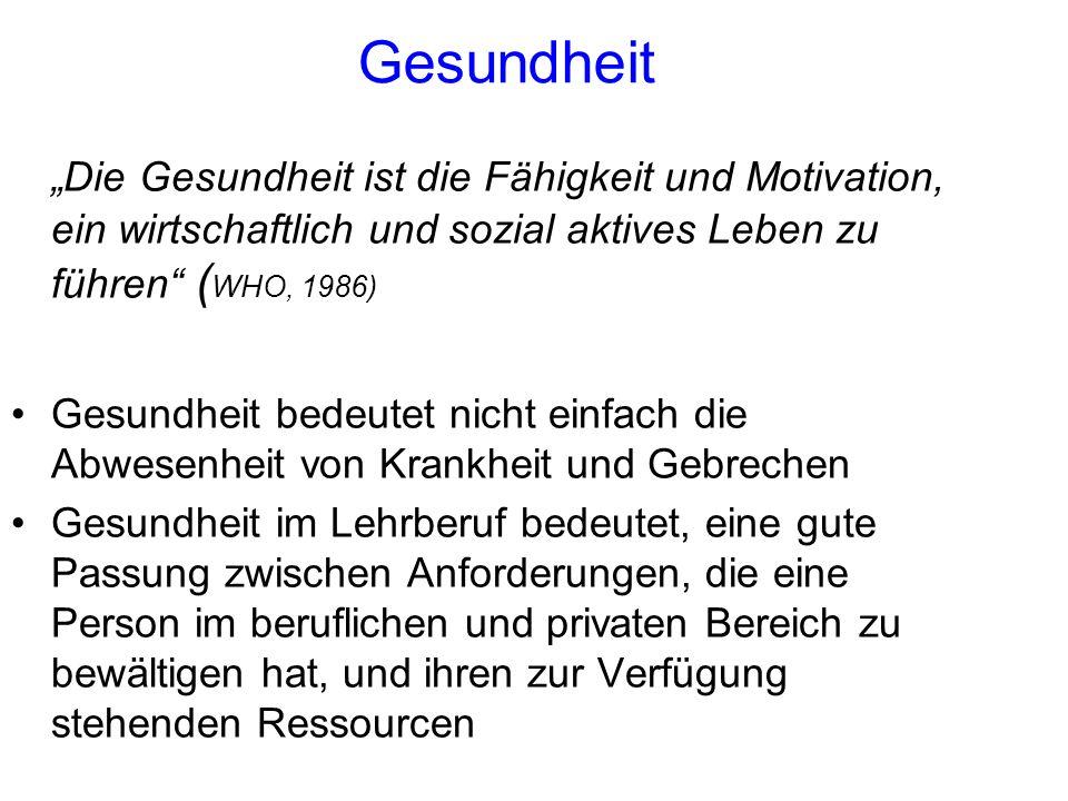 """Gesundheit """"Die Gesundheit ist die Fähigkeit und Motivation, ein wirtschaftlich und sozial aktives Leben zu führen"""" ( WHO, 1986) Gesundheit bedeutet n"""
