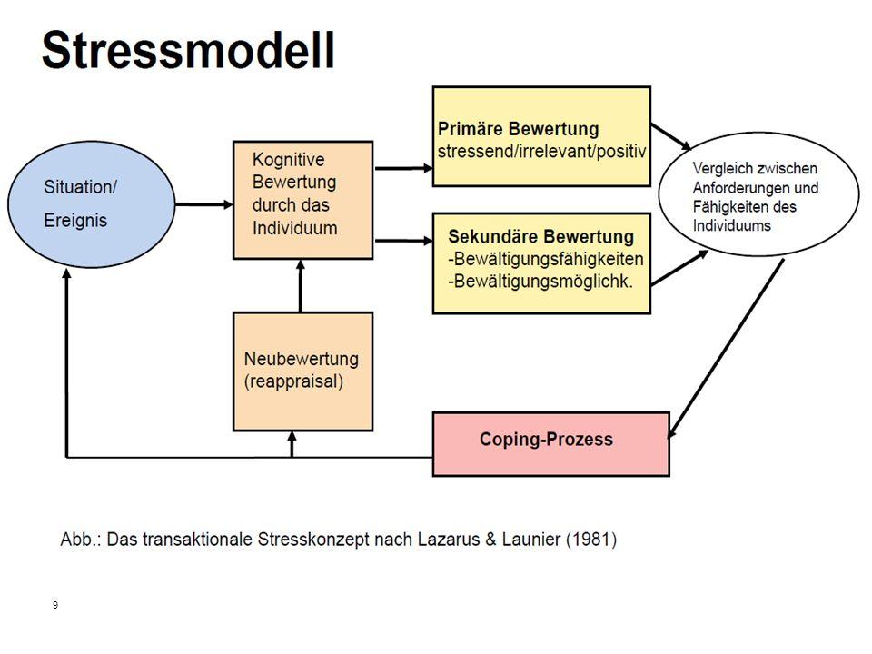 9 Situatio n/ Ereignis Vgl. Anforderunge n & Resspourcen Stressmodell (Lazarus)