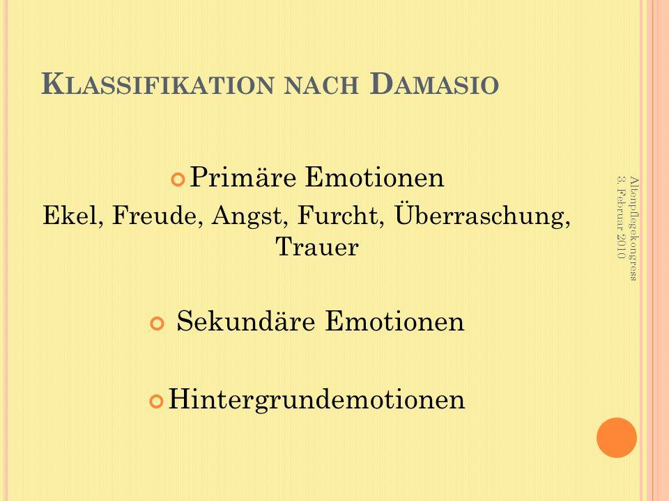 K LASSIFIKATION NACH D AMASIO Primäre Emotionen Ekel, Freude, Angst, Furcht, Überraschung, Trauer Sekundäre Emotionen Hintergrundemotionen Altenpflege
