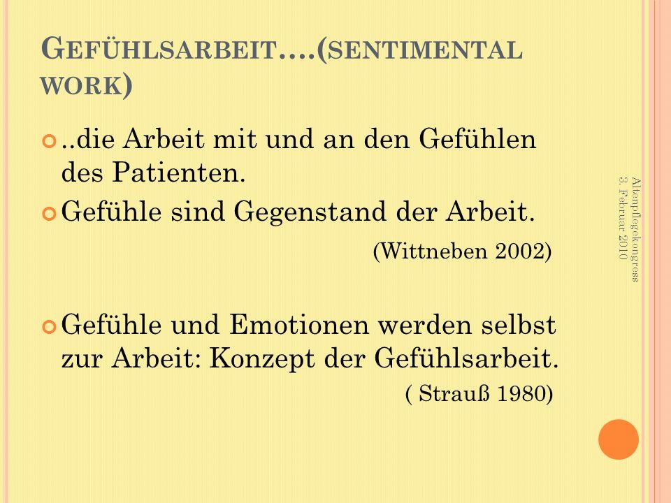 G EFÜHLSARBEIT ….( SENTIMENTAL WORK )..die Arbeit mit und an den Gefühlen des Patienten. Gefühle sind Gegenstand der Arbeit. (Wittneben 2002) Gefühle