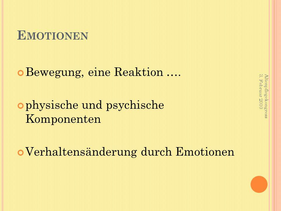 E MOTIONEN Bewegung, eine Reaktion …. physische und psychische Komponenten Verhaltensänderung durch Emotionen Altenpflegekongress 3. Februar 2010