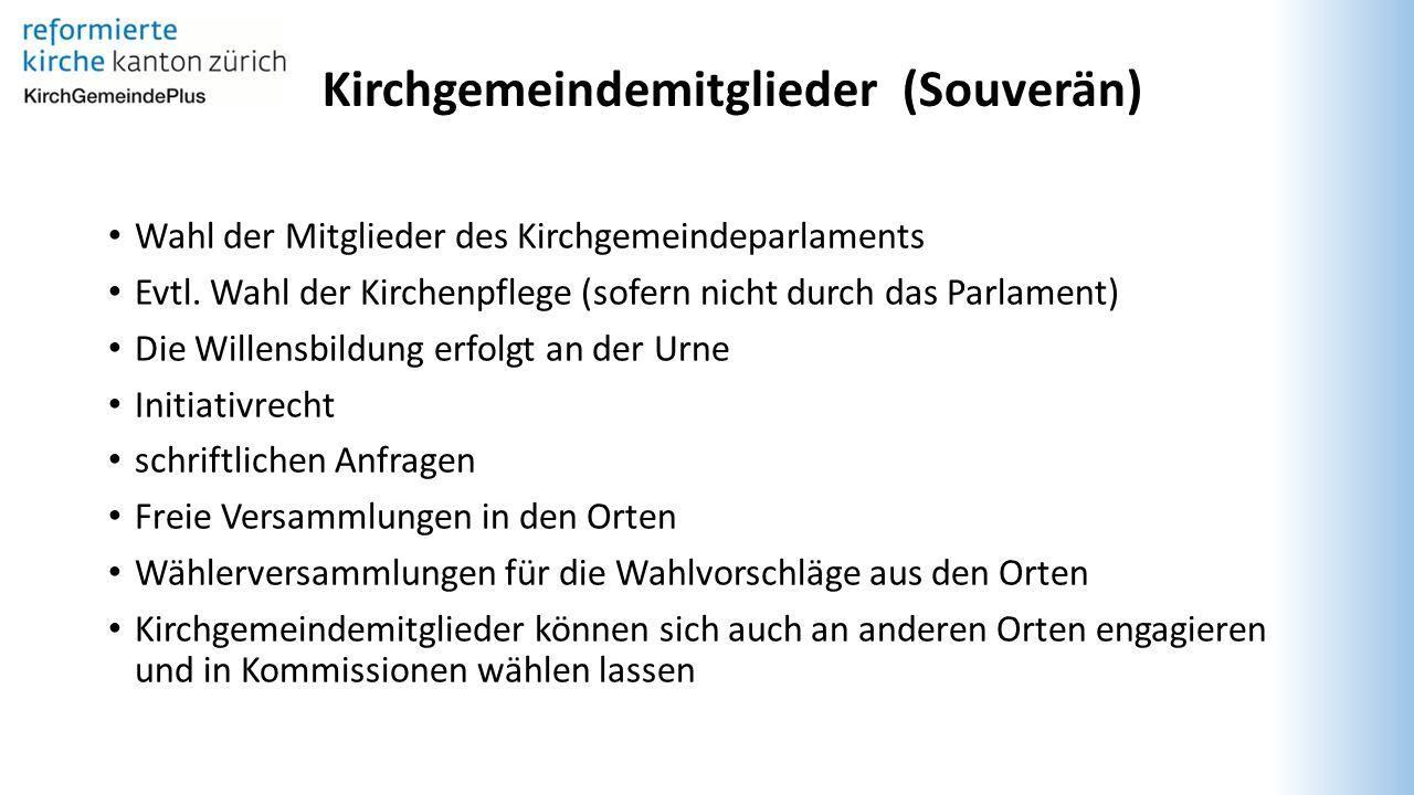 Kirchgemeindemitglieder (Souverän) Wahl der Mitglieder des Kirchgemeindeparlaments Evtl.