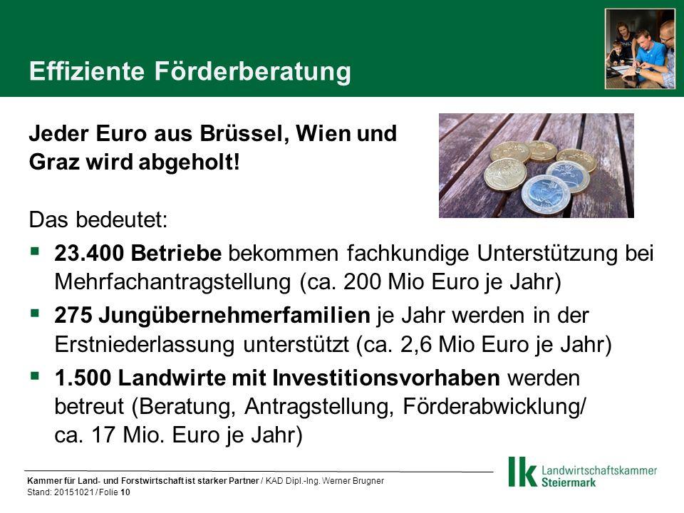 Effiziente Förderberatung Jeder Euro aus Brüssel, Wien und Graz wird abgeholt.