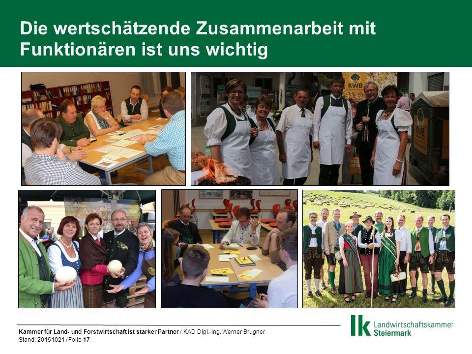 Die wertschätzende Zusammenarbeit mit Funktionären ist uns wichtig Kammer für Land- und Forstwirtschaft ist starker Partner / KAD Dipl.-Ing.