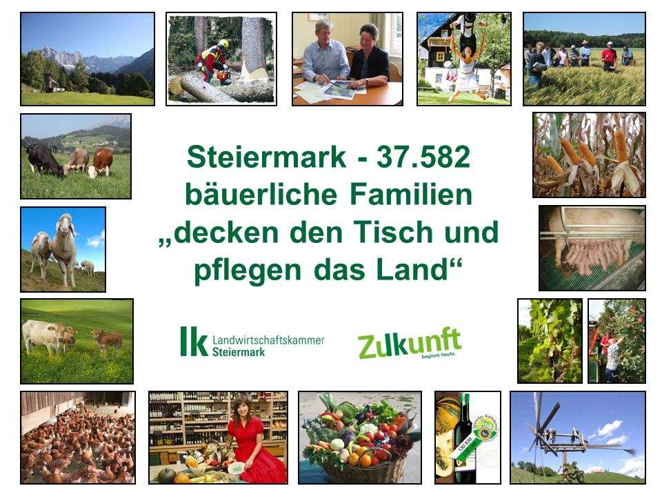 Die Landwirtschaftskammer Steiermark ein treuer Begleiter im bäuerlichen Leben Interessensvertretung Bildung Aktiver Bauer / Bäuerin Öffentlichkeitsarbeit Generationen