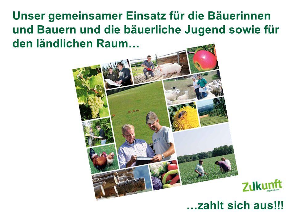 Unser gemeinsamer Einsatz für die Bäuerinnen und Bauern und die bäuerliche Jugend sowie für den ländlichen Raum… …zahlt sich aus!!!