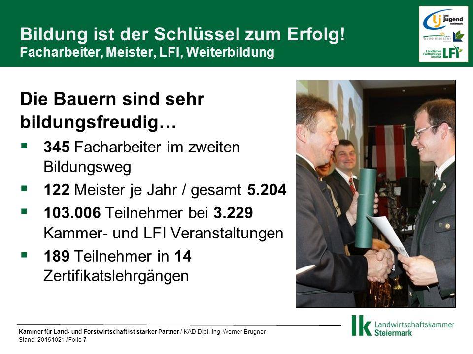 Die Landwirtschaftskammer Steiermark ein treuer Begleiter im bäuerlichen Leben Bildung Aktiver Bauer / Bäuerin