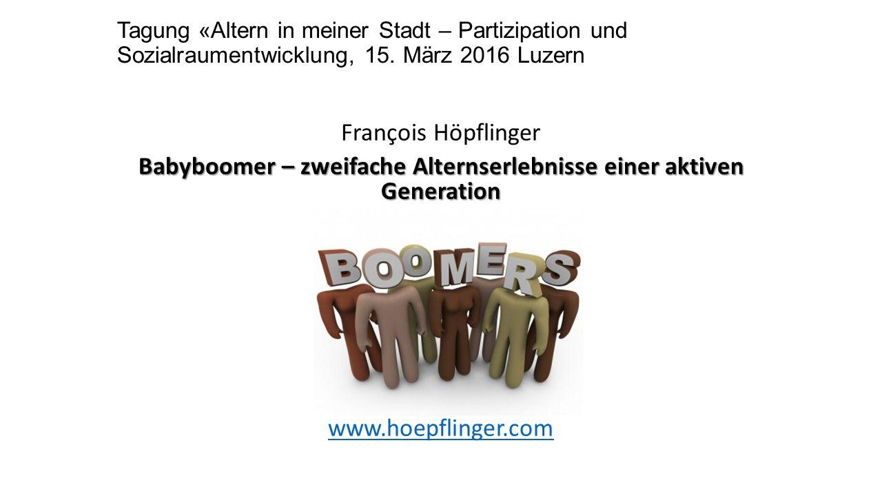 Tagung «Altern in meiner Stadt – Partizipation und Sozialraumentwicklung, 15.