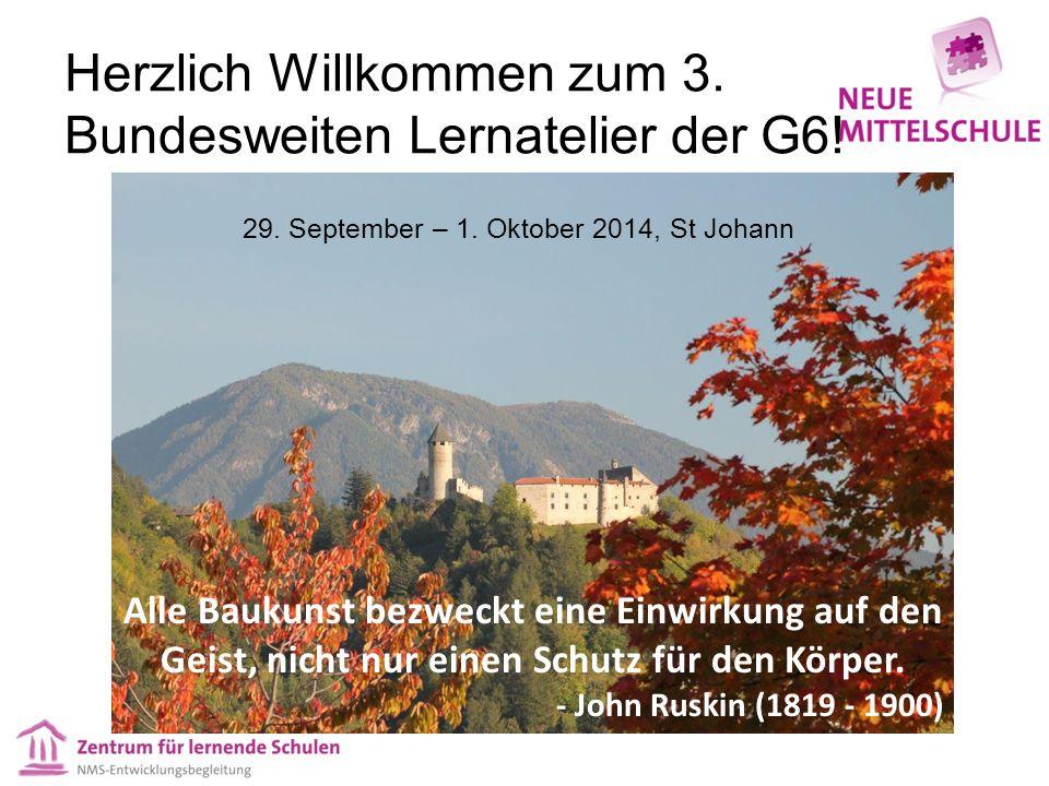 Herzlich Willkommen zum 3. Bundesweiten Lernatelier der G6.