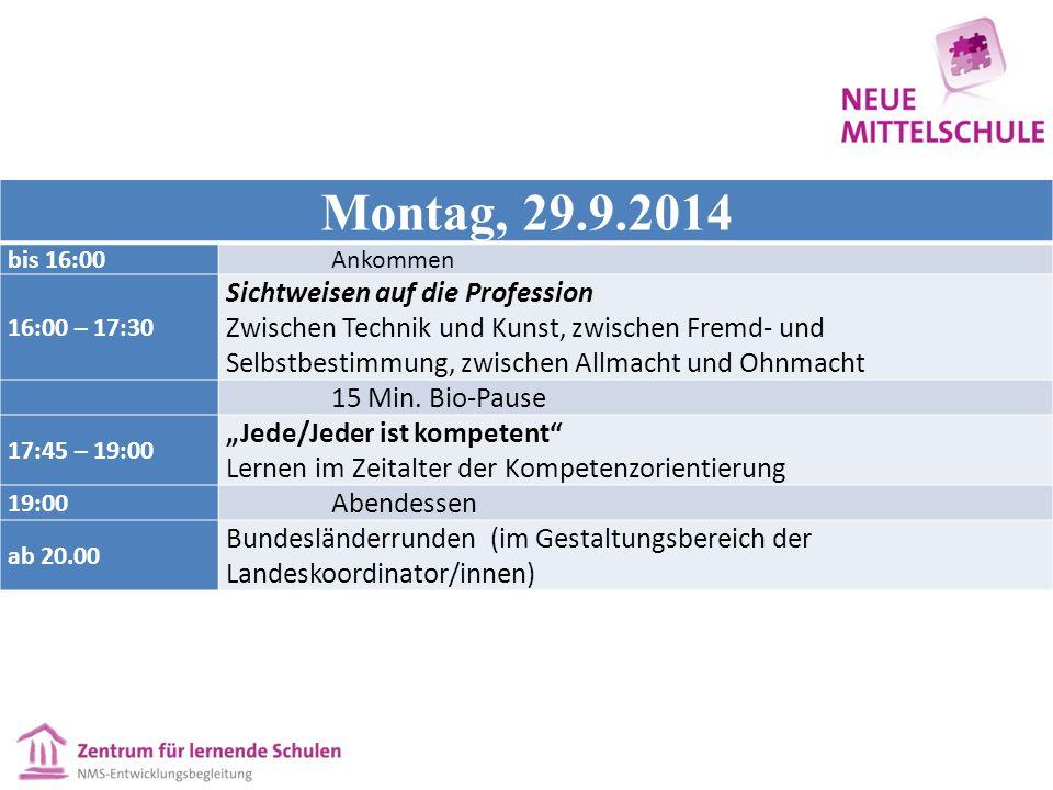 Montag, 29.9.2014 bis 16:00Ankommen 16:00 – 17:30 Sichtweisen auf die Profession Zwischen Technik und Kunst, zwischen Fremd- und Selbstbestimmung, zwischen Allmacht und Ohnmacht 15 Min.