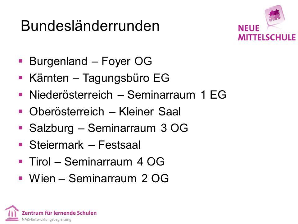 Bundesländerrunden  Burgenland – Foyer OG  Kärnten – Tagungsbüro EG  Niederösterreich – Seminarraum 1 EG  Oberösterreich – Kleiner Saal  Salzburg – Seminarraum 3 OG  Steiermark – Festsaal  Tirol – Seminarraum 4 OG  Wien – Seminarraum 2 OG