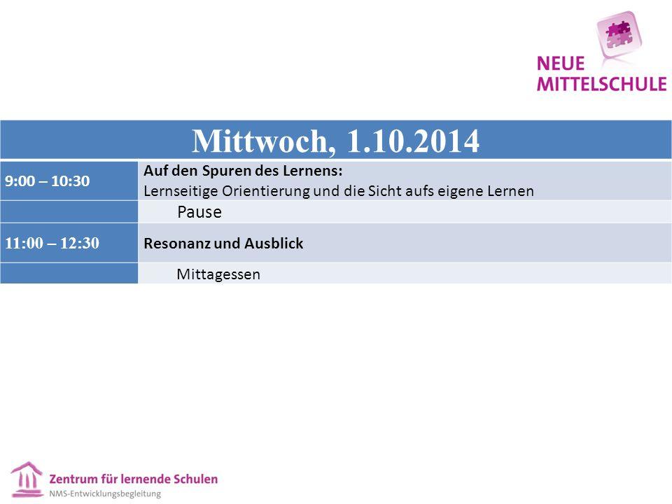 Mittwoch, 1.10.2014 9:00 – 10:30 Auf den Spuren des Lernens: Lernseitige Orientierung und die Sicht aufs eigene Lernen Pause 11:00 – 12:30 Resonanz und Ausblick Mittagessen