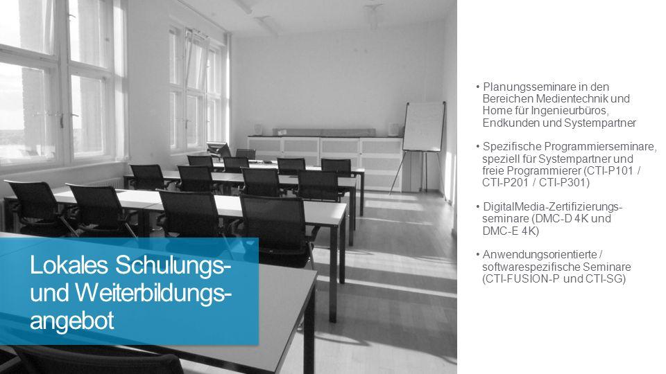 Planungsseminare in den Bereichen Medientechnik und Home für Ingenieurbüros, Endkunden und Systempartner Spezifische Programmierseminare, speziell für Systempartner und freie Programmierer (CTI-P101 / CTI-P201 / CTI-P301) DigitalMedia-Zertifizierungs- seminare (DMC-D 4K und DMC-E 4K) Anwendungsorientierte / softwarespezifische Seminare (CTI-FUSION-P und CTI-SG) Lokales Schulungs- und Weiterbildungs- angebot