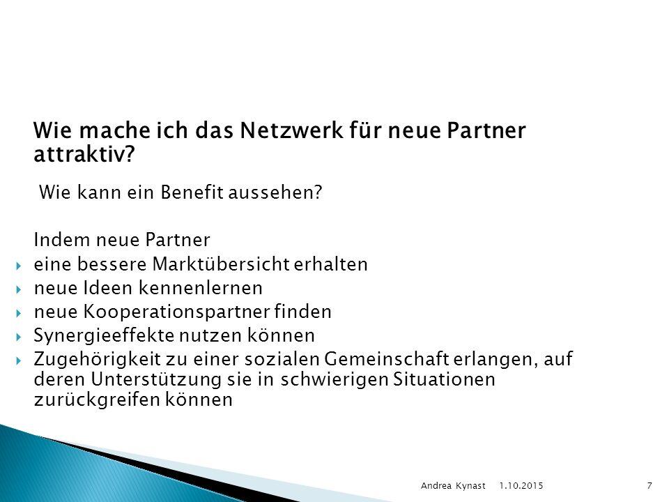 1.10.2015 Andrea Kynast7 Wie mache ich das Netzwerk für neue Partner attraktiv.