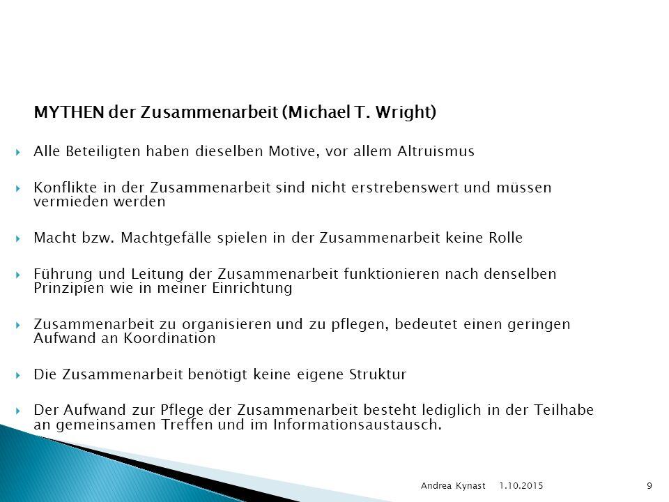 1.10.2015 Andrea Kynast9 MYTHEN der Zusammenarbeit (Michael T.