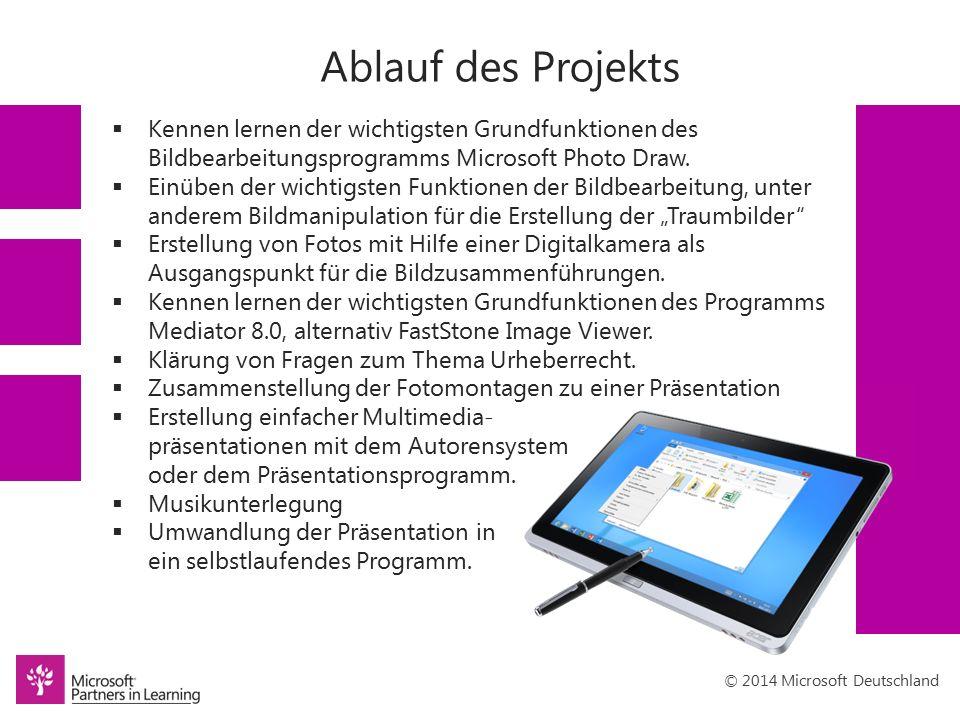 © 2014 Microsoft Deutschland Ablauf des Projekts  Kennen lernen der wichtigsten Grundfunktionen des Bildbearbeitungsprogramms Microsoft Photo Draw.