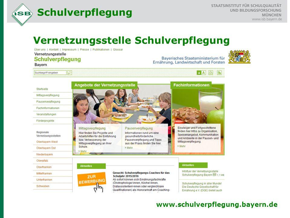 Vernetzungsstelle Schulverpflegung www.schulverpflegung.bayern.de Schulverpflegung