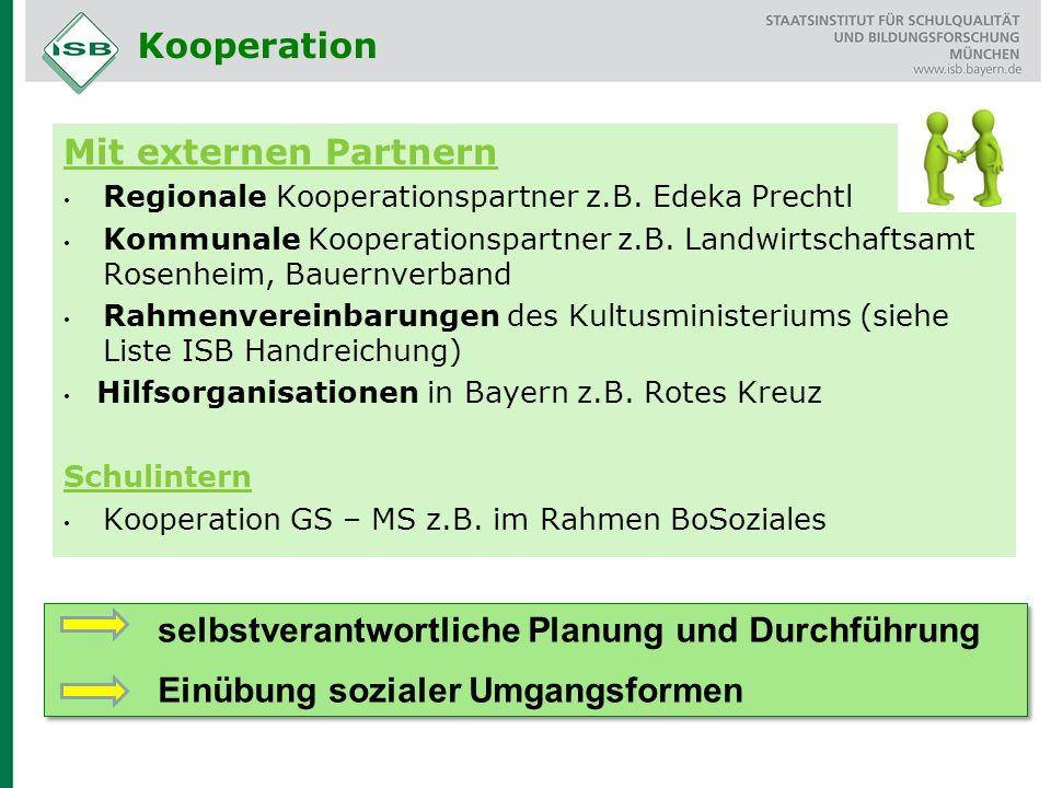 Mit externen Partnern Regionale Kooperationspartner z.B. Edeka Prechtl Kommunale Kooperationspartner z.B. Landwirtschaftsamt Rosenheim, Bauernverband