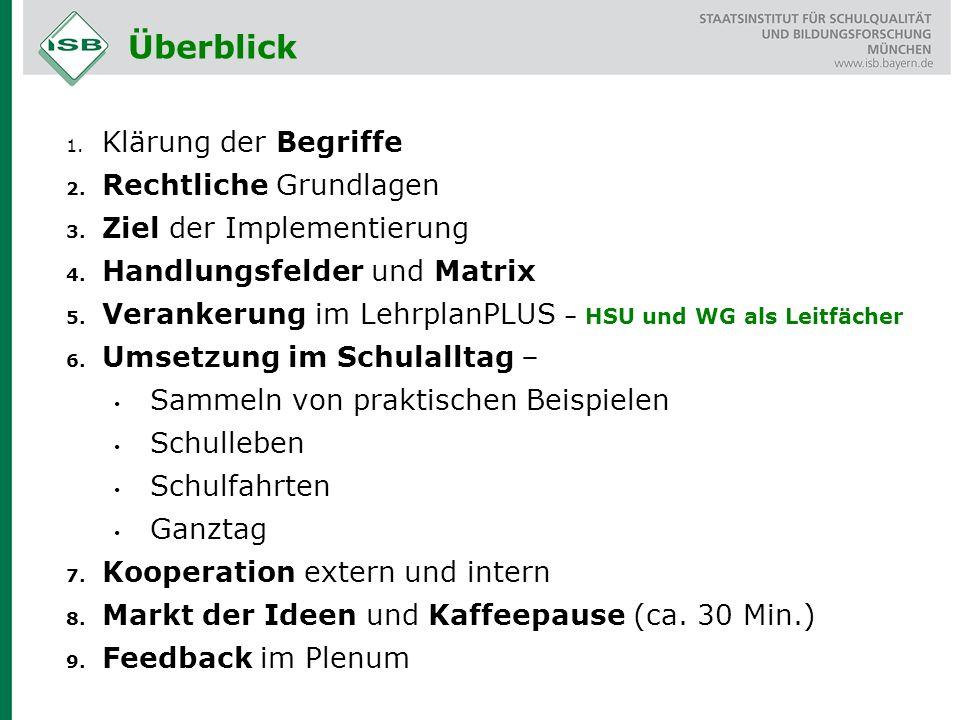 Überblick 1. Klärung der Begriffe 2. Rechtliche Grundlagen 3. Ziel der Implementierung 4. Handlungsfelder und Matrix 5. Verankerung im LehrplanPLUS –