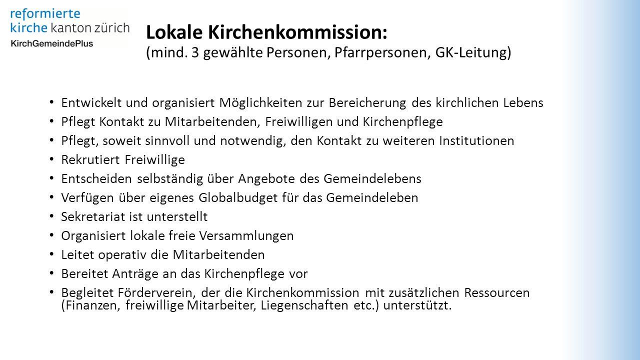 Fachkommissionen: (Angestellte, Kirchenbürger, Pfarrpersonen) Übernehmen Aufgaben für Handlungsfelder, Wirkungsbereiche, etc.