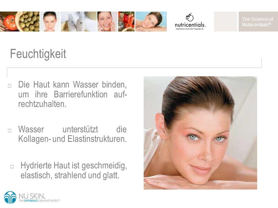 The Science of Nutricentials ® Feuchtigkeit  Die Haut kann Wasser binden, um ihre Barrierefunktion auf- rechtzuhalten.
