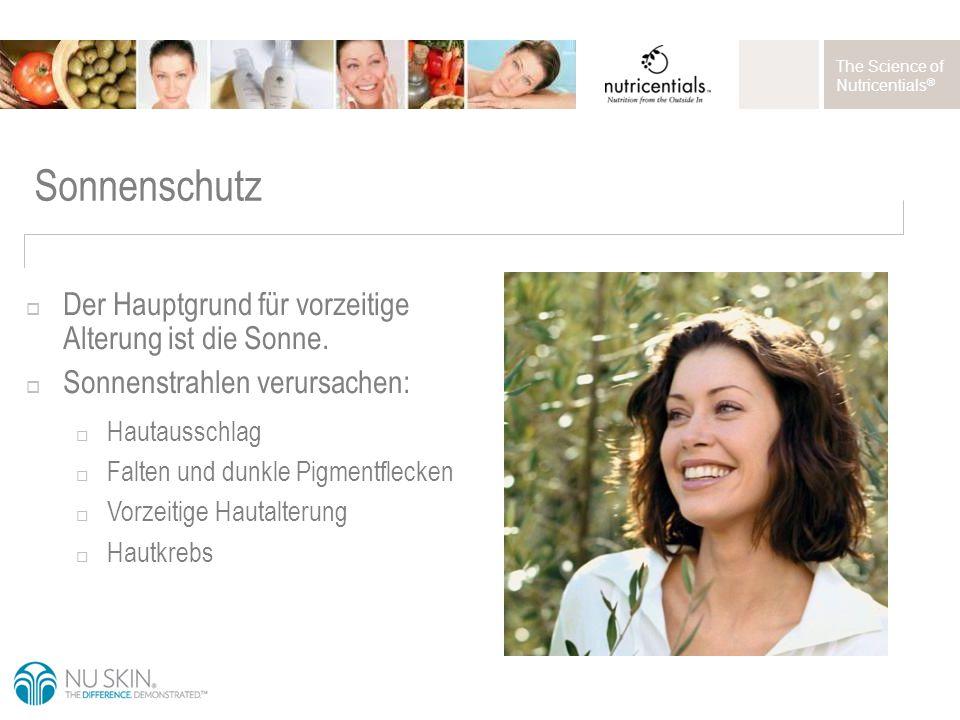The Science of Nutricentials ® Sonnenschutz  Der Hauptgrund für vorzeitige Alterung ist die Sonne.