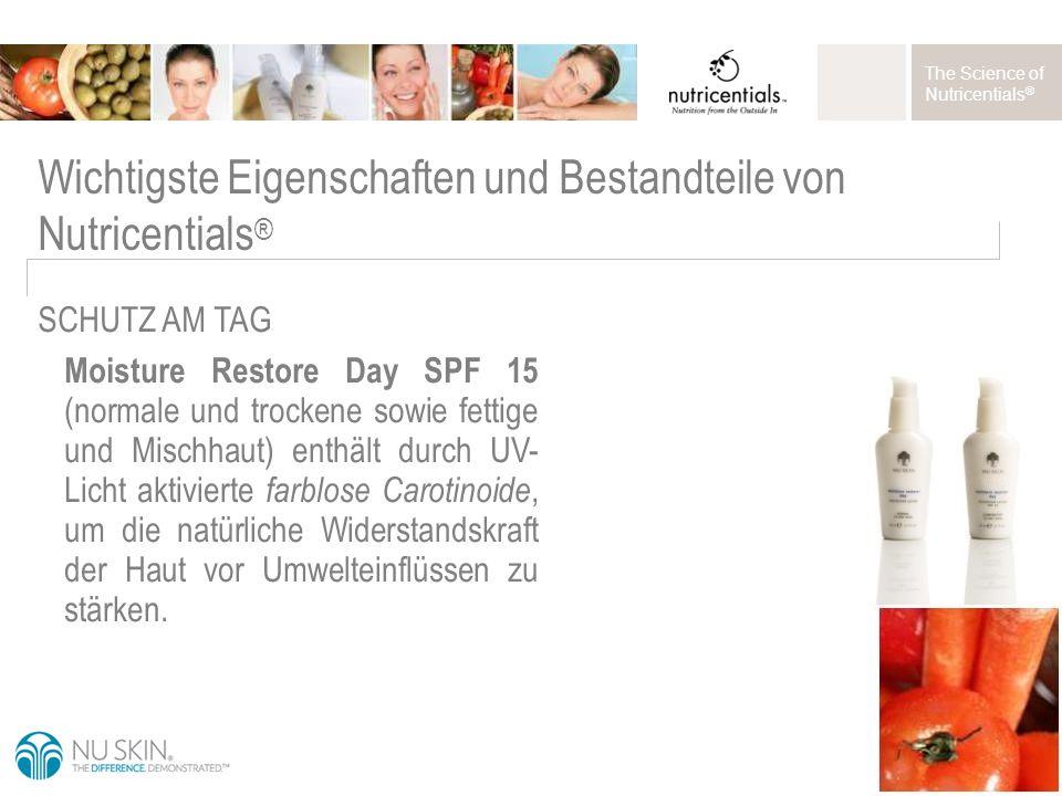 The Science of Nutricentials ® Moisture Restore Day SPF 15 (normale und trockene sowie fettige und Mischhaut) enthält durch UV- Licht aktivierte farblose Carotinoide, um die natürliche Widerstandskraft der Haut vor Umwelteinflüssen zu stärken.